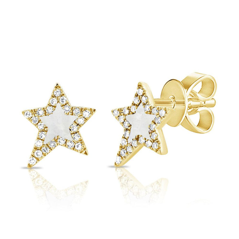 Sabrina Designs 14K Yellow Gold Pave Diamond and Mother of Pearl Star Studs