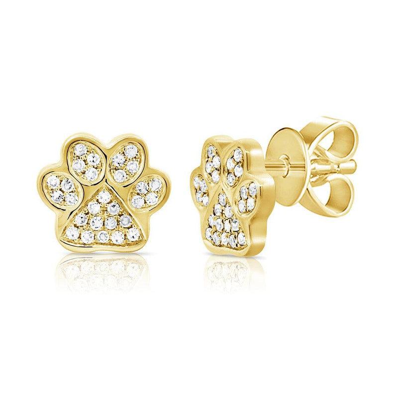 14K Gold Diamond Paw Earrings