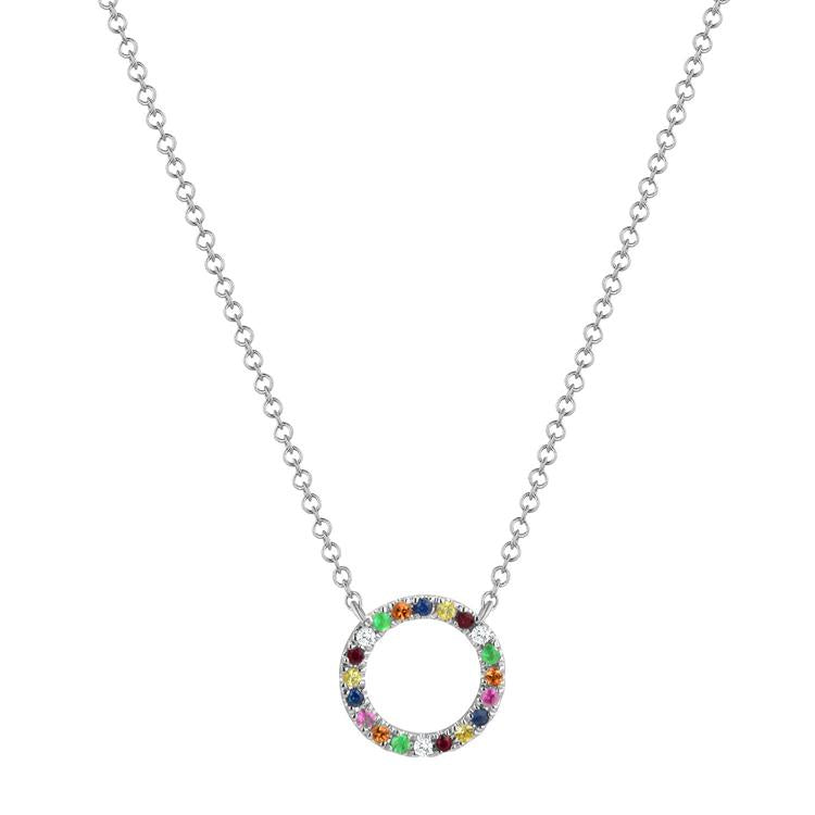 Sabrina Designs 14k White Gold Diamond and Sapphire Rainbow Circle Necklace