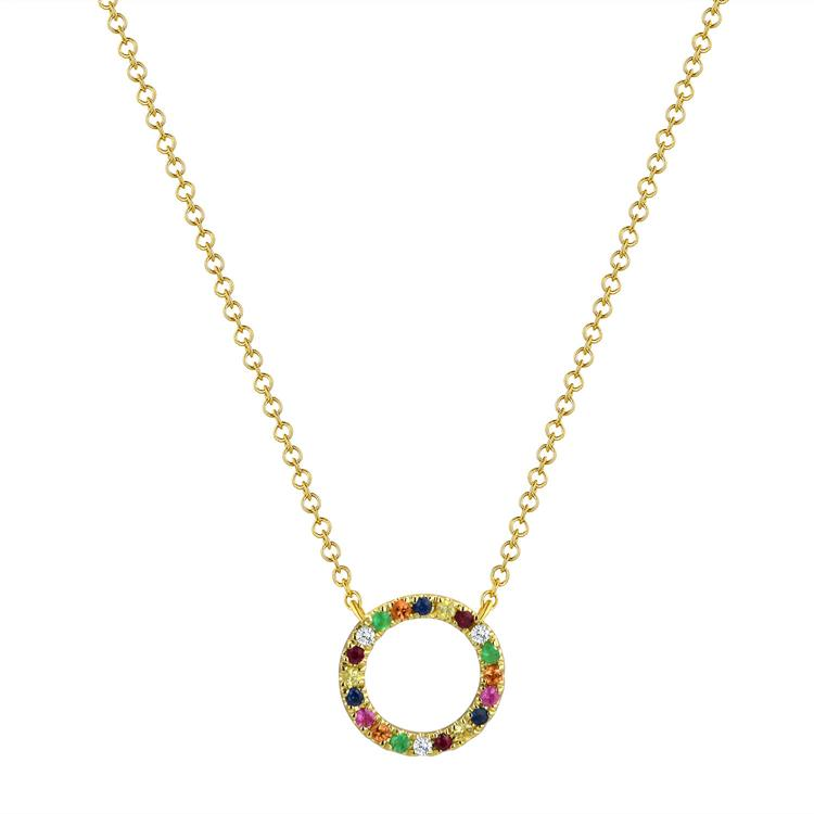 Sabrina Designs 14k Yellow Gold Diamond and Sapphire Rainbow Circle Necklace