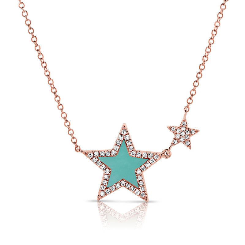 Sabrina Designs 14k Rose Gold Diamond & Turquoise Star Necklace
