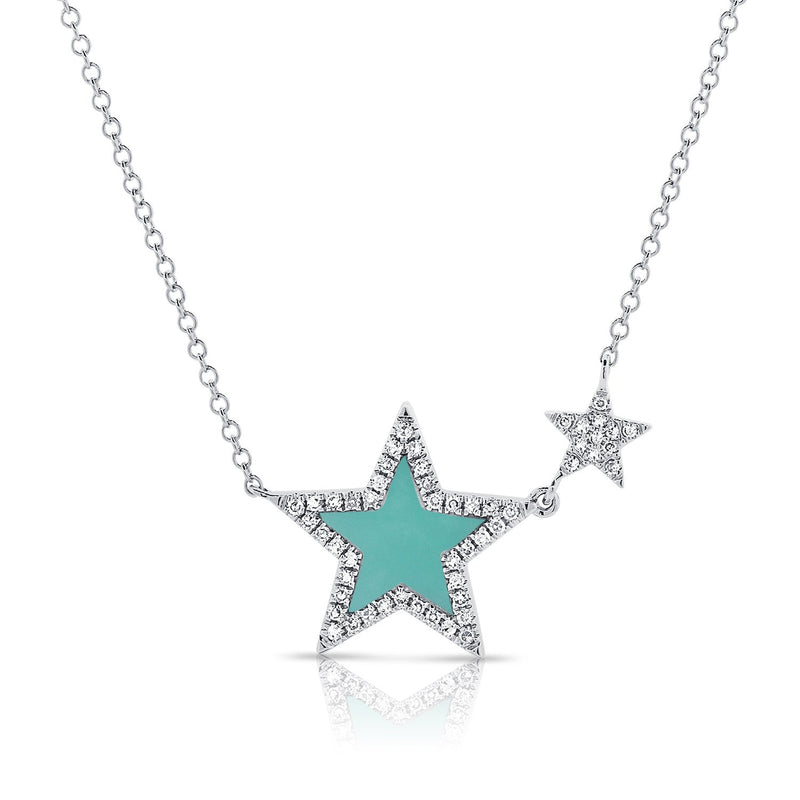 Sabrina Designs 14k White Gold Diamond & Turquoise Star Necklace