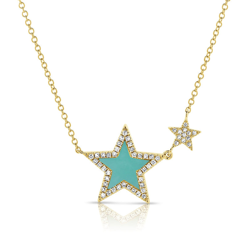 Sabrina Designs 14k Yellow Gold Diamond & Turquoise Star Necklace