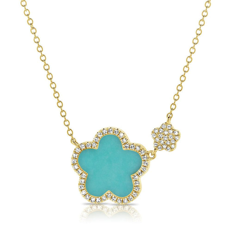 Sabrina Designs 14K Yellow Gold Turquoise & Diamond Clover Necklace