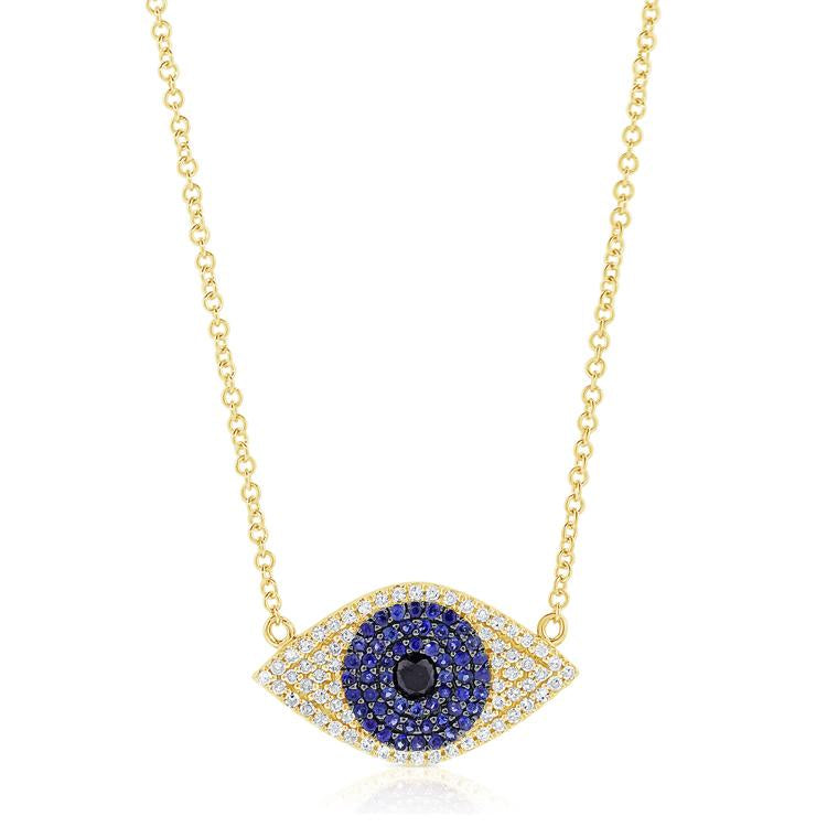 Sabrina Designs 14k Yellow Gold Diamond & Sapphire Evil Eye Necklace