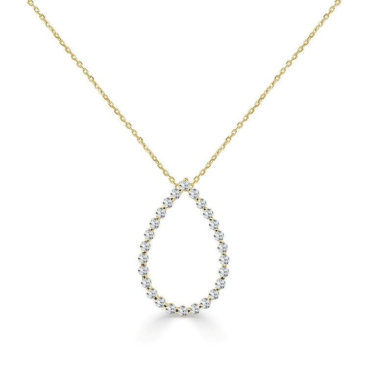 14K Gold Diamond Open Teardrop Necklace