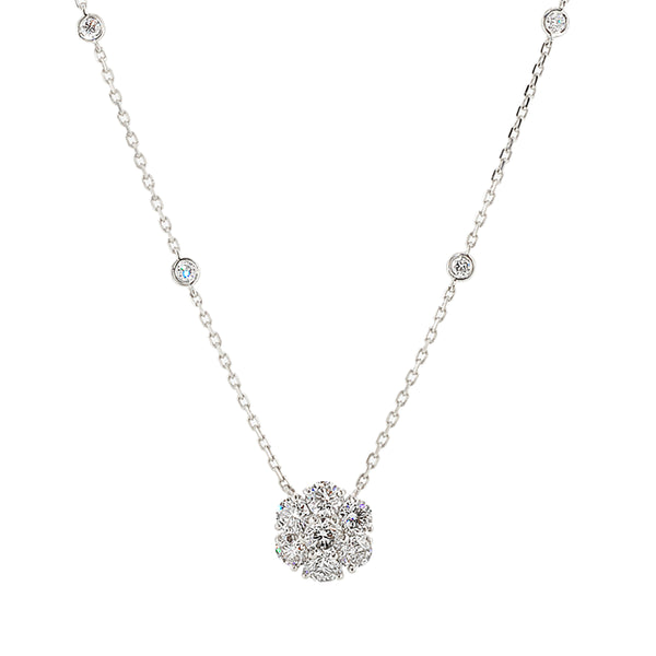 Diamond Cluster Necklace 2.50CT TW