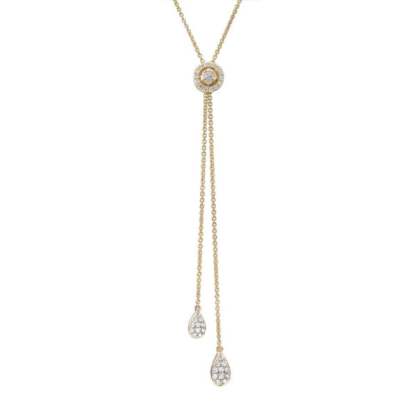 18K GOLD DIAMOND LARIAT ADJUSTABLE NECKLACE