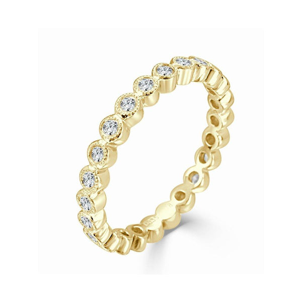 18K Gold & Diamond Bezel Set Band
