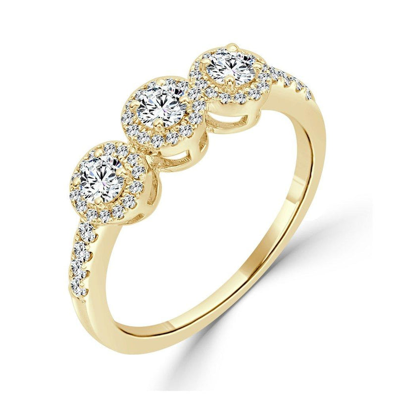 18K Gold & Diamond Three Stone Ring