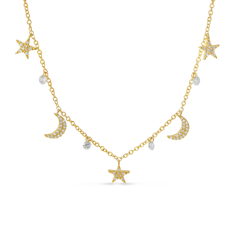 Moon and Stars Dashing Diamonds Necklace