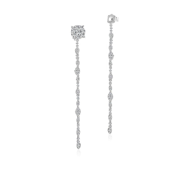 Diamond Dangle Push Back Earrings