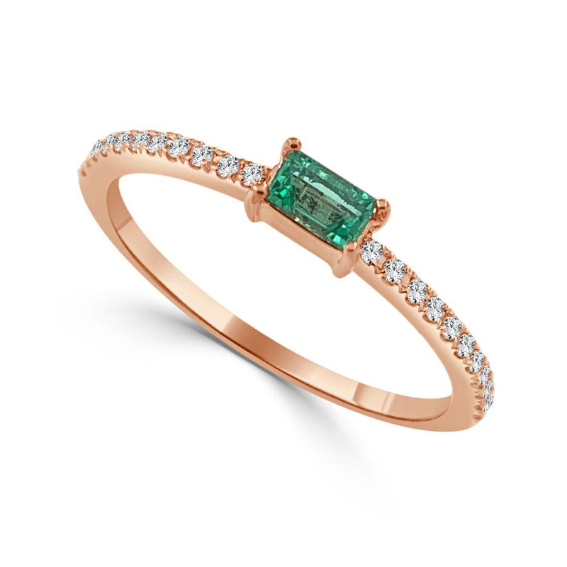 Sabrina Designs 14k Rose Gold Diamond & Emerald Stackable Ring