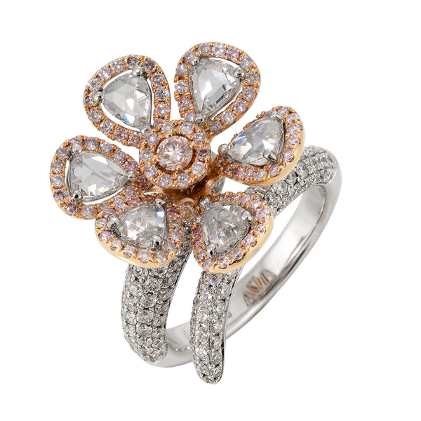 Rose Cut Pink and White Diamond Flower Ring