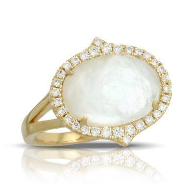 Doves Quartz and Mother of Pearl Oval Ring