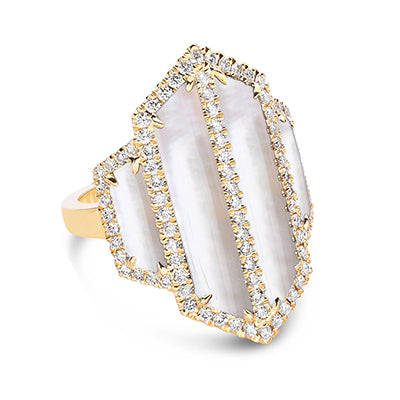 Doves Mother of Pearl and Quartz Angular Ring