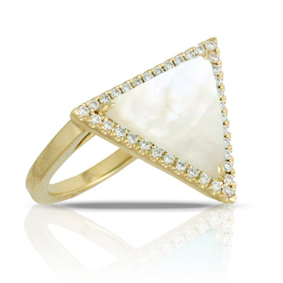 Dovevs Mother of Pearl and Diamond Triangle Ring