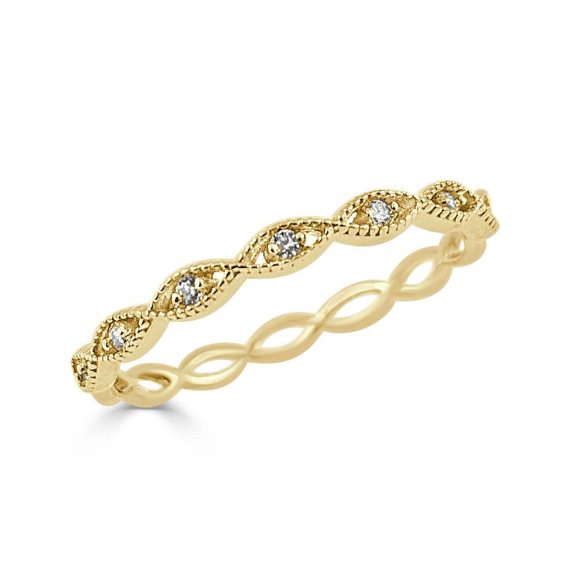 14K Gold Diamond Infinity Ring