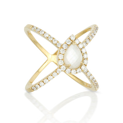 Doves Mother of Pearl Criss Cross Ring