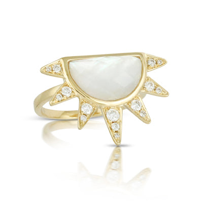 Doves Mother of Pearl Half Sun Ring