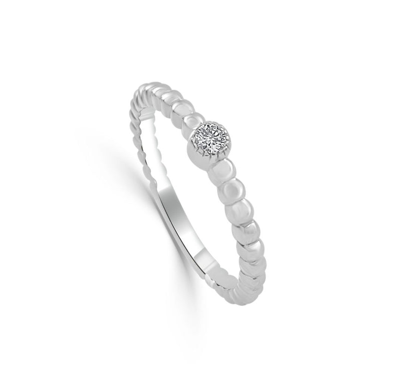 Sabrina Designs 14k White Gold Diamond Beaded Ring