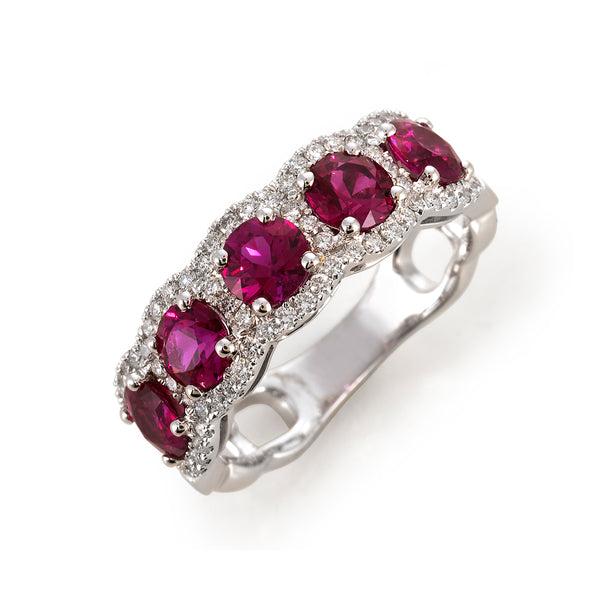 Ruby and Diamond 5 Stone Band