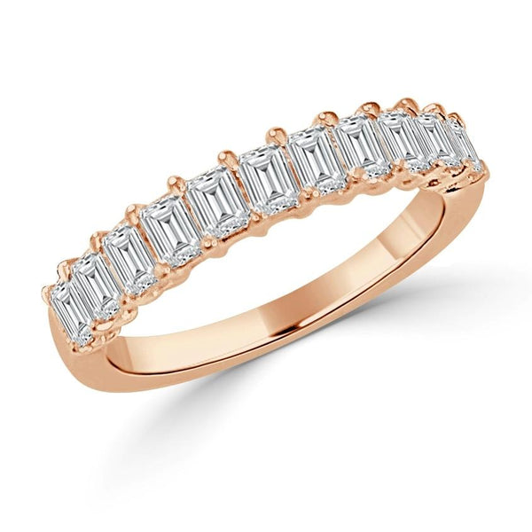 14K Gold & Emerald Cut Diamond Band