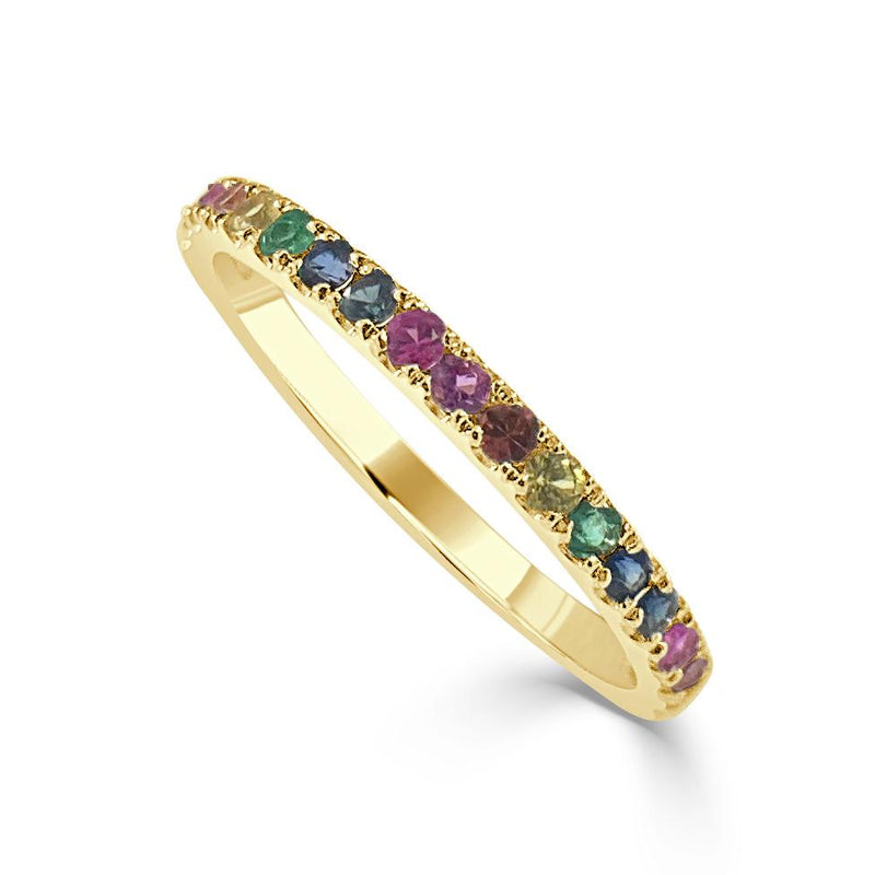 14K Rainbow Sapphire 1/2 Way Around Ring