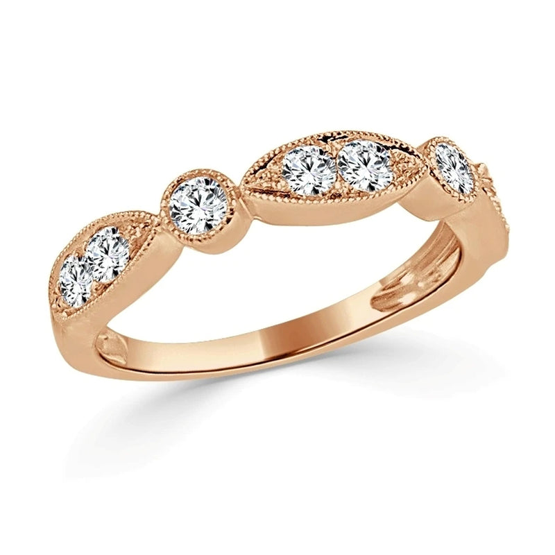 Milgrain Two Shaped 1/2 Diamond Ring