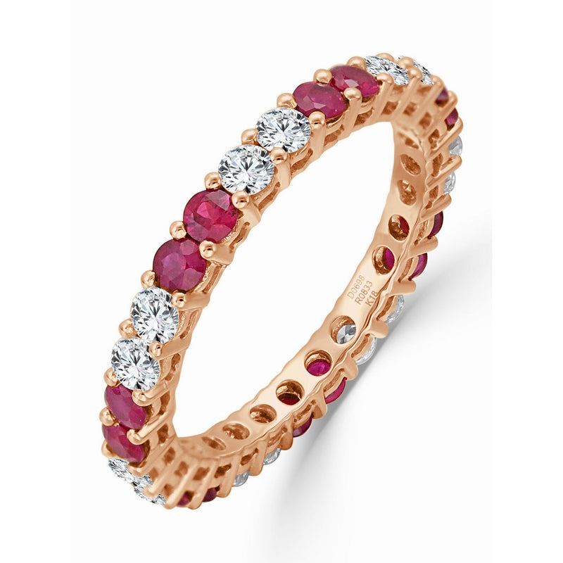 Sabrina Designs 14K Rose Gold Diamond and Ruby Eternity Ring