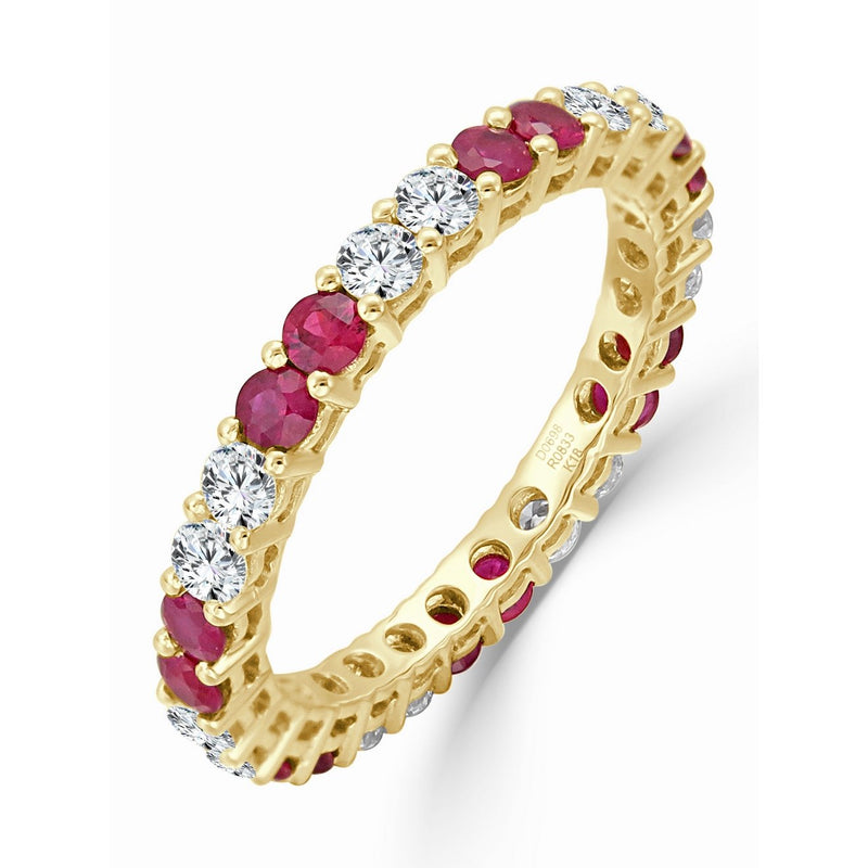 Sabrina Designs 14K Yellow Gold Diamond and Ruby Eternity Ring