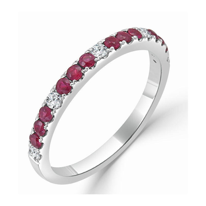 Sabrina Designs 14k White Gold Diamond and Ruby Ring