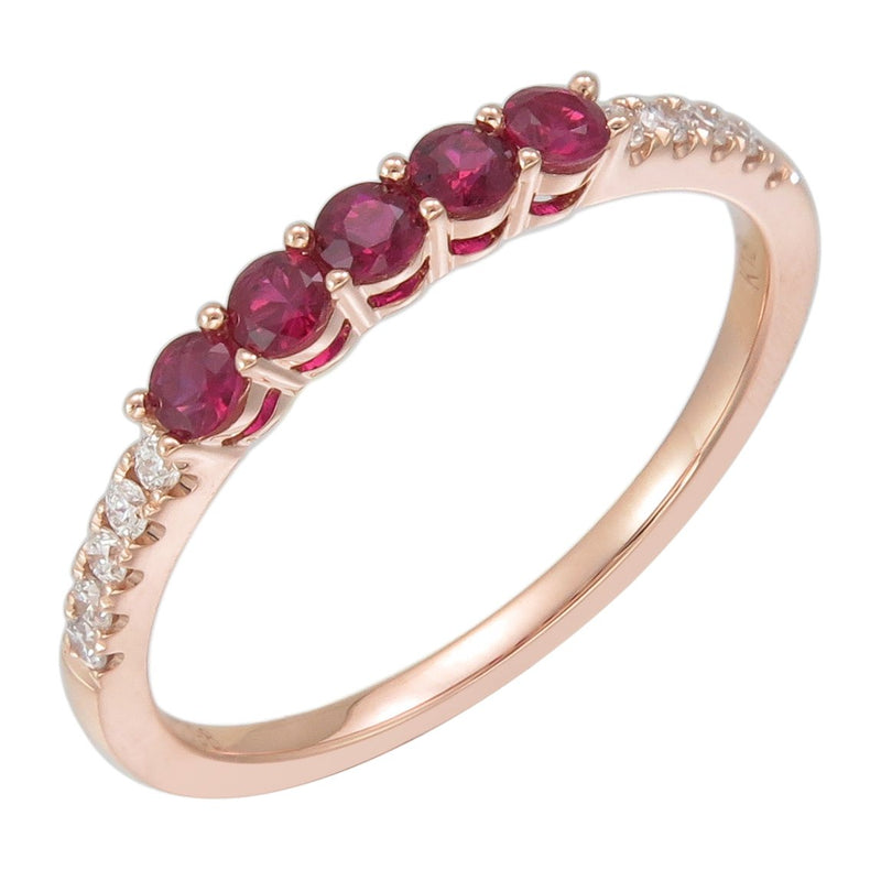 18K GOLD RUBY & DIAMOND STACKABLE BAND
