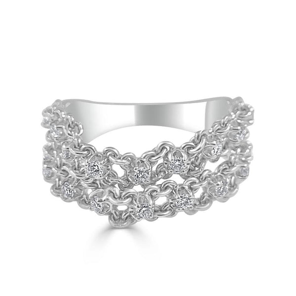 Sabrina Designs 14k White Gold Diamond Double Chain Ring