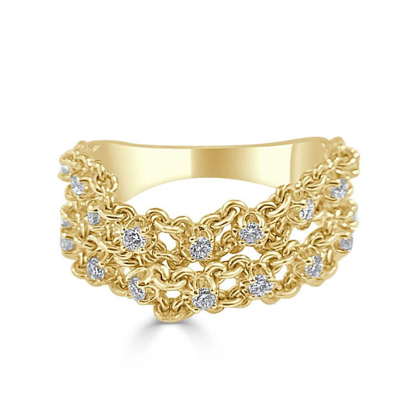 Sabrina Designs 14k Yellow Gold Diamond Double Chain Ring