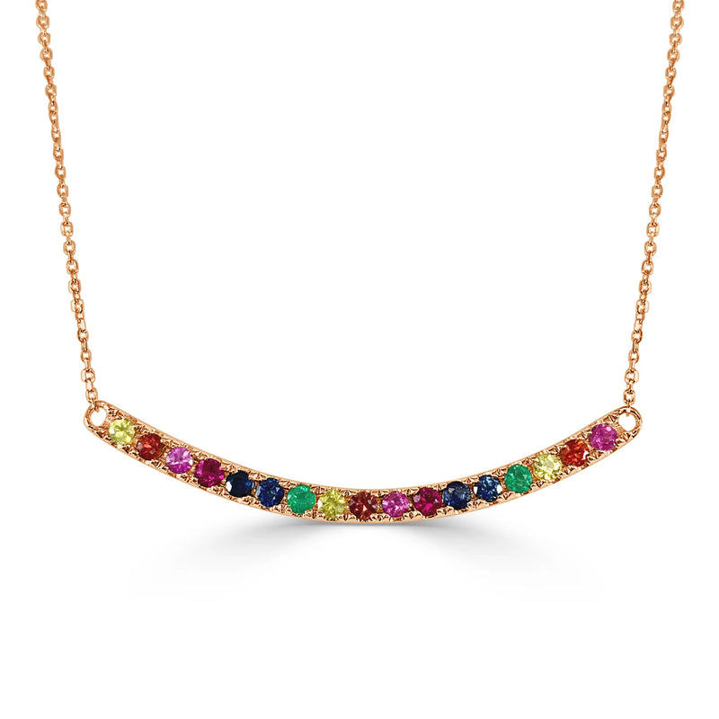 Rainbow Curved Bar Necklace