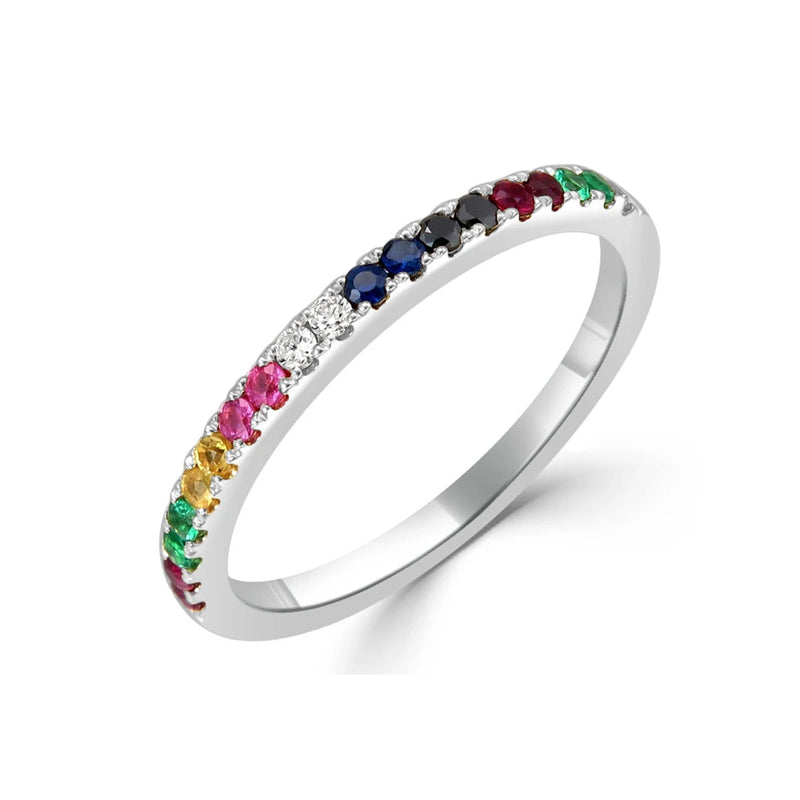 Rainbow Sapphire, Ruby, Emerald, & Diamond 1/2 Way Band