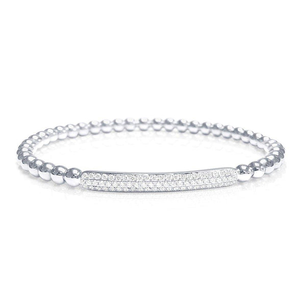 Beaded Bracelet with Diamond Pave Bar