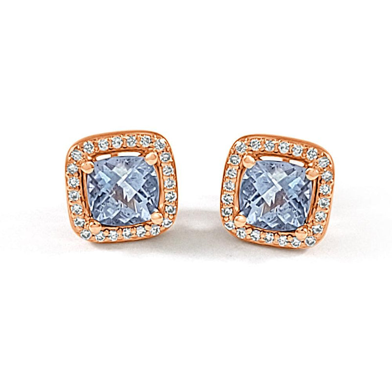14K Rose Gold Aqua Diamond Earrings