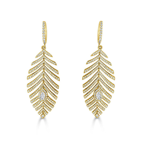 Sabrina Designs 14k Yellow Gold & Diamond Feather Earrings