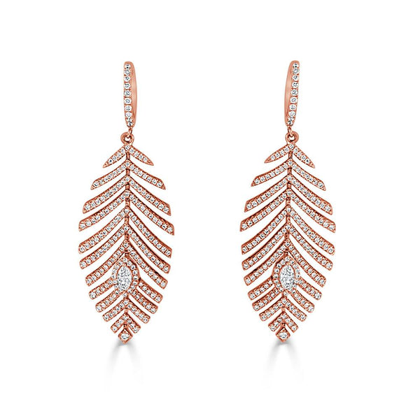 Sabrina Designs 14k Rose Gold & Diamond Feather Earrings