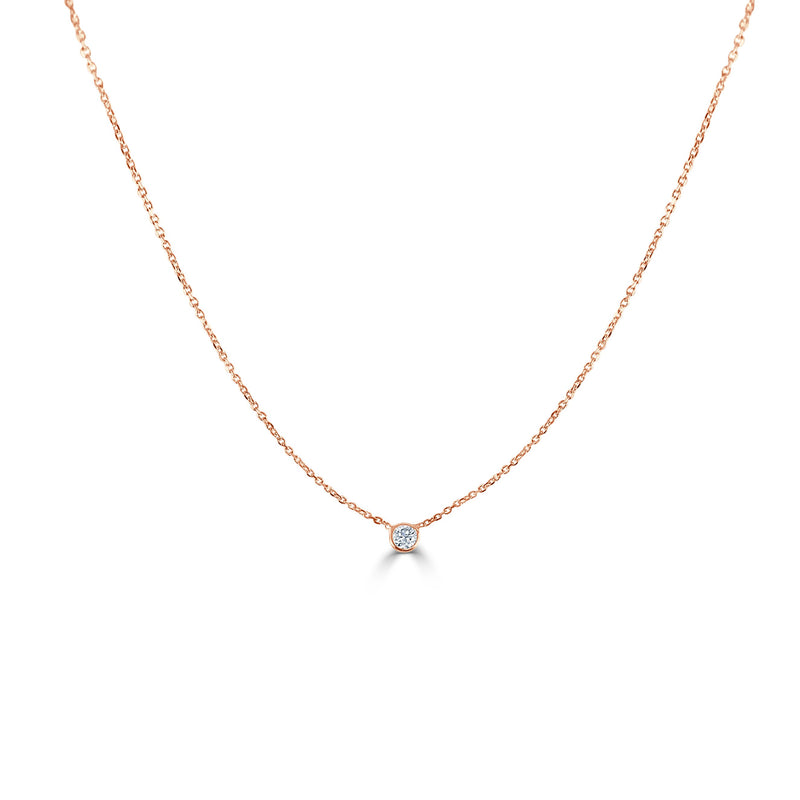 Sabrina Designs 14k Rose Gold Diamond Bezel Necklace 0.20 ct.