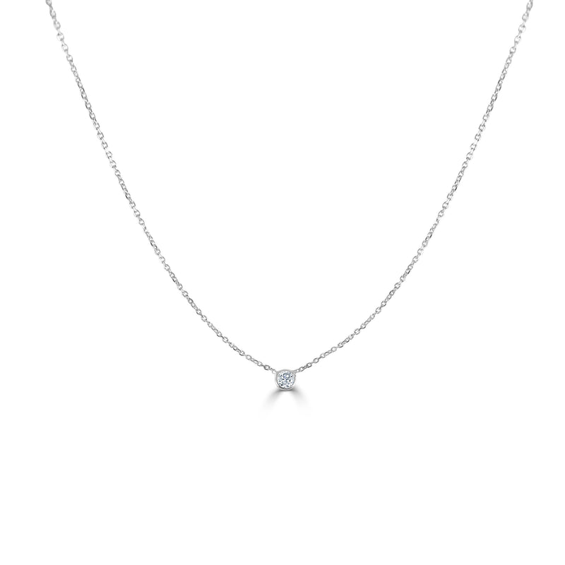 Sabrina Designs 14k White Gold Diamond Bezel Necklace 0.20 ct.