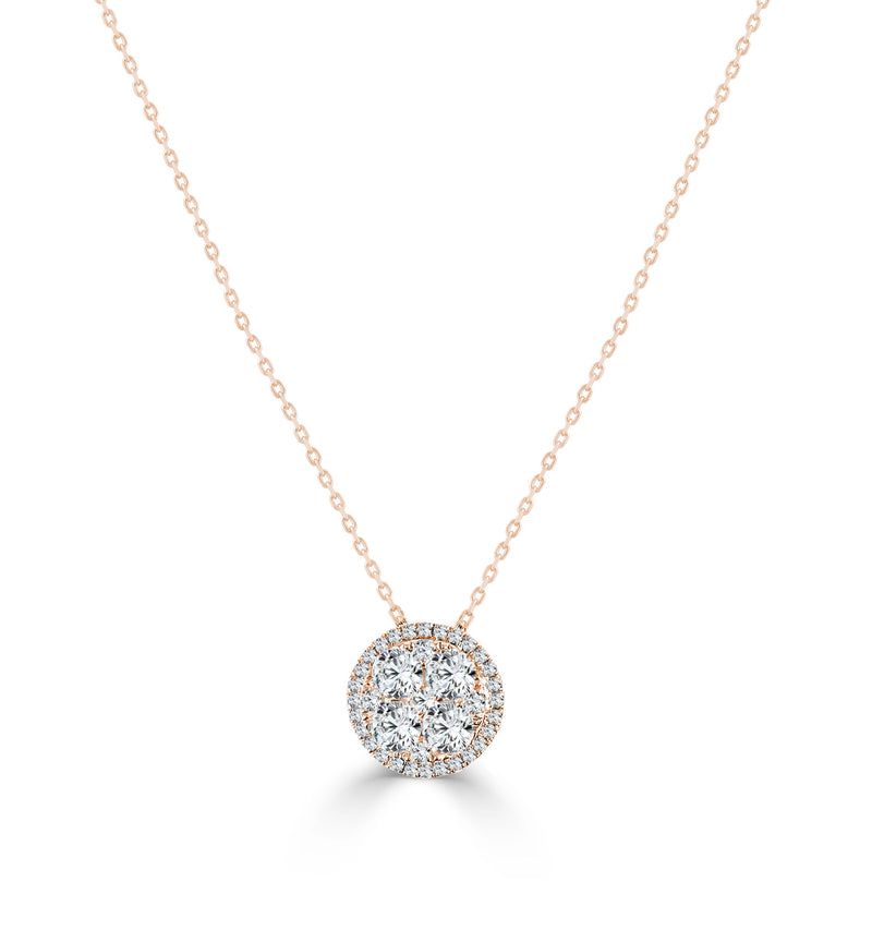 18K Gold & Diamond Cluster Necklace