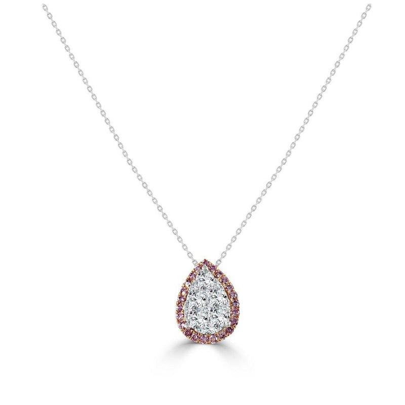 18K Gold Pink Diamond & Diamond Cluster Teardrop Necklace