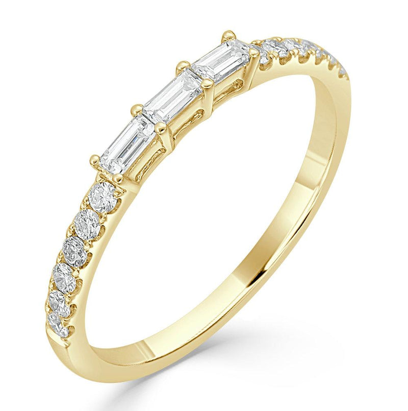 14K Gold Triple Baguette Diamond Ring