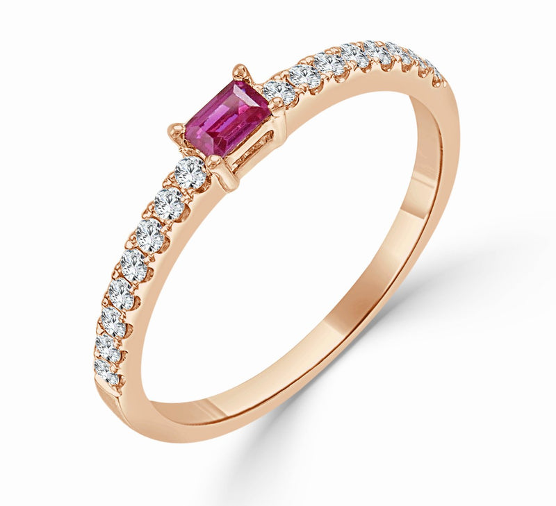 Sabrina Designs 18k Rose Gold Diamond & Ruby Stackable Ring