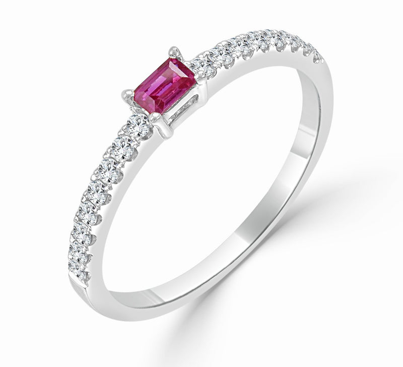Sabrina Designs 18k White Gold Diamond & Ruby Stackable Ring