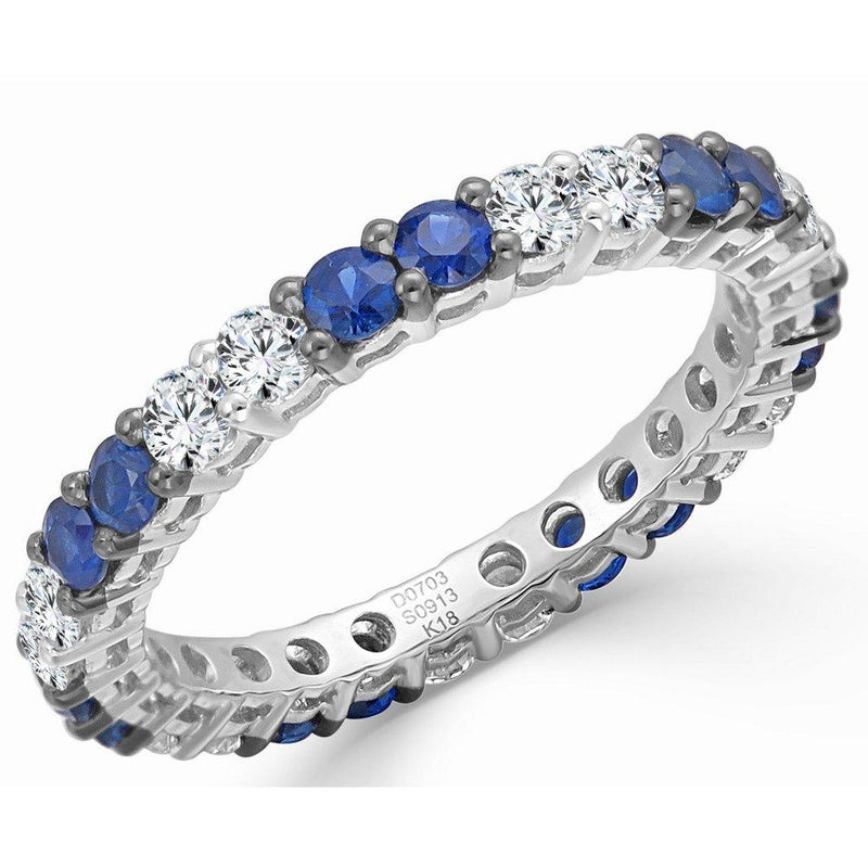 18K Gold Diamond & Sapphire Stackable Ring