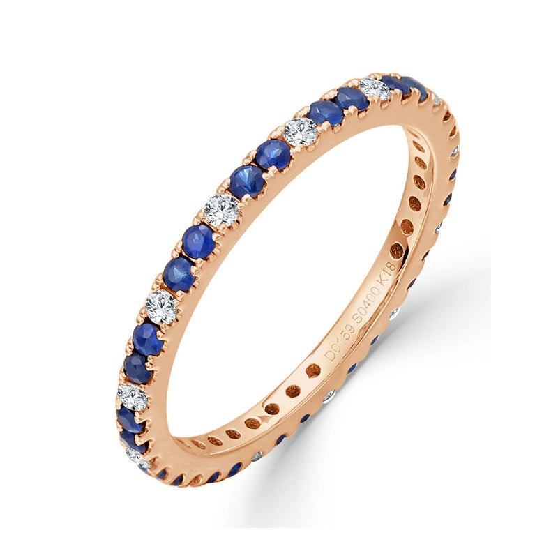 Sabrina Designs 18K Rose Gold Diamond and Blue Sapphire Eternity Ring